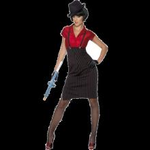 Gangsterdräkt 20-tal dam, röd och svart