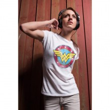 Wonder Woman Distressed Logo Girly T-shirt Grå
