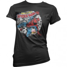 Distressed Spider-Man Girly T-Shirt Svart
