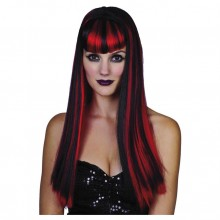 Peruk Gothic Svart & Röd
