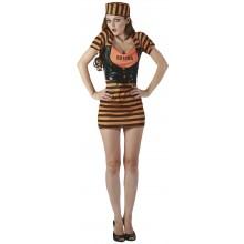 Sexig Orange Fånge Maskeraddräkt