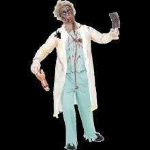 Zombiedoktor-dräkt, vit och grön