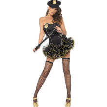 svart korsett polisuniform maskerad