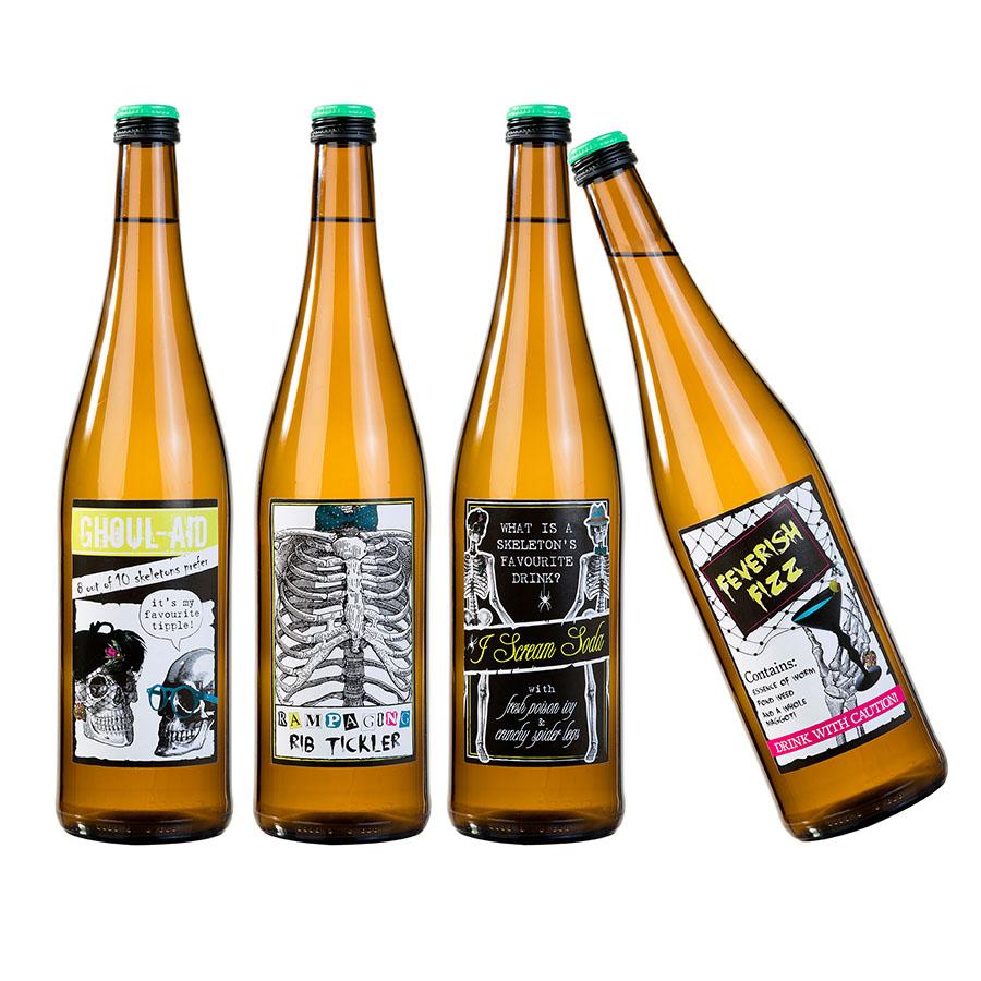 Flasketiketter Skelett 8-pack