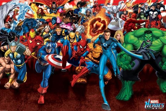 MARVEL HEROES - ATTACK AFFISCH thumbnail