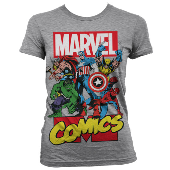 Marvel Comics Heroes Girly T-Shirt Grå thumbnail
