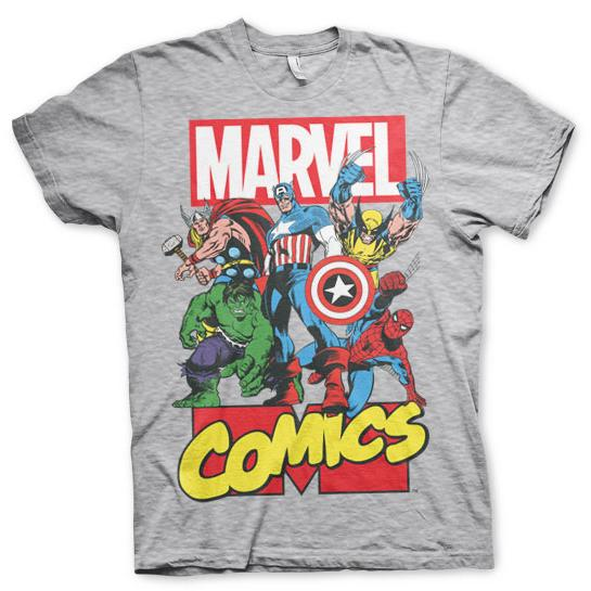 Marvel Comics Heroes T-Shirt Grå thumbnail