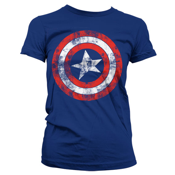 Captain America Distressed Shield Girly T-Shirt Blå thumbnail