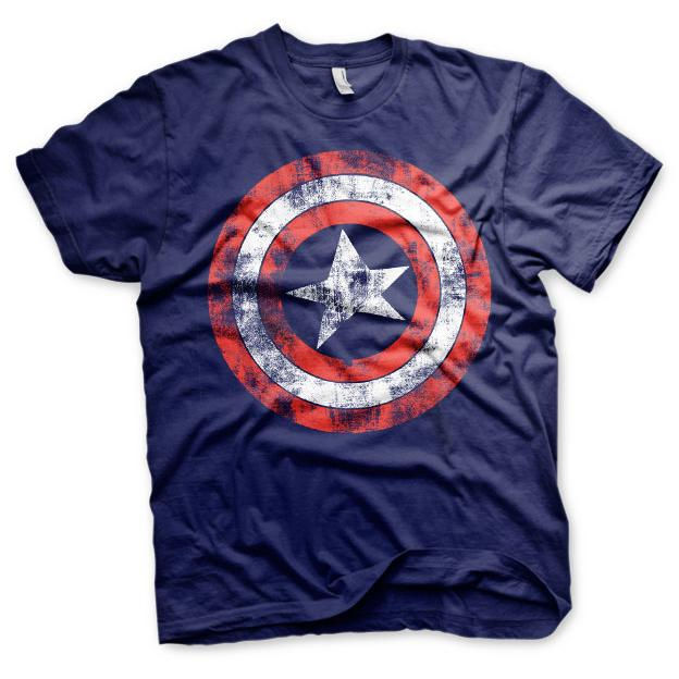 Captain America Distressed Shield T-Shirt Blå thumbnail