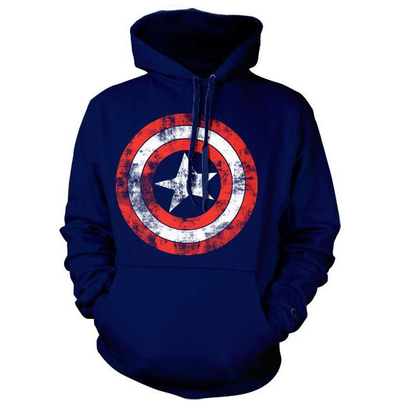 Captain America Distressed Shield Hoodie Navy thumbnail