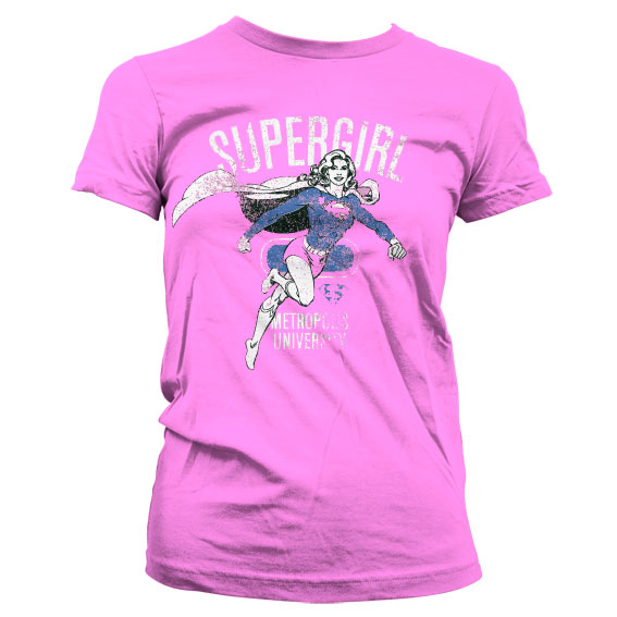 Supergirl Metropolis Distressed Girly T-Shirt