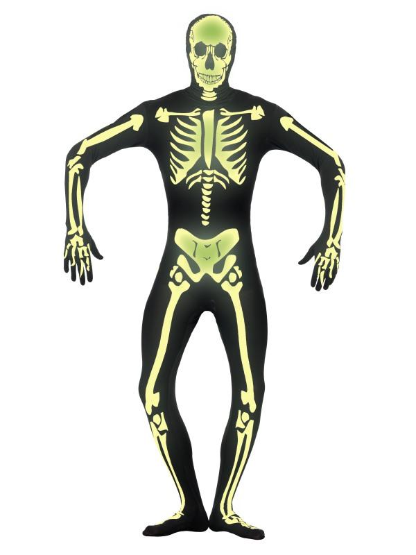 Second Skin Självlysande Skelett Maskeraddräkt