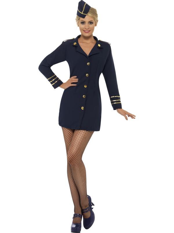 Blå flygvärdinnedräkt
