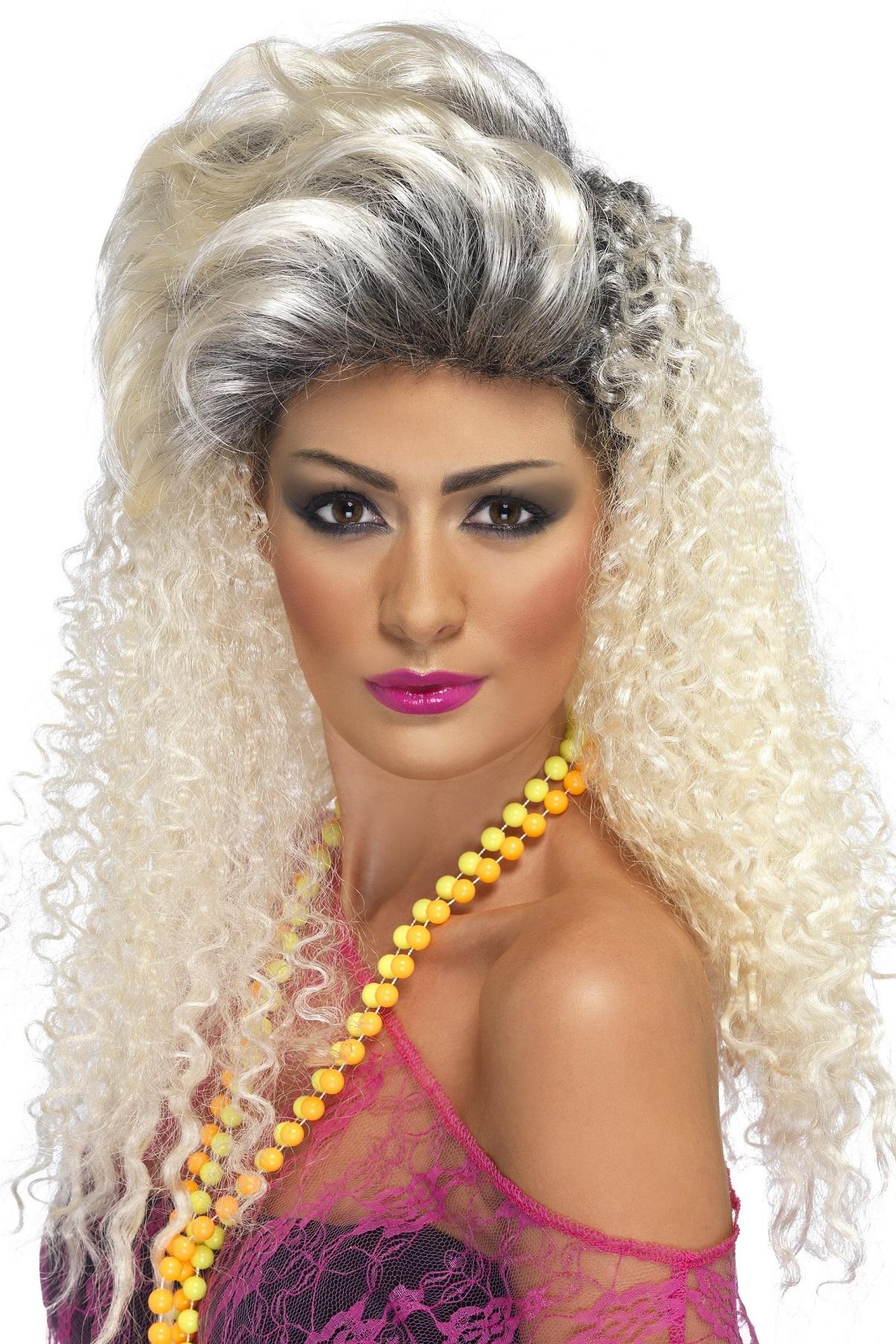 80-tals Peruk Blond Quiff
