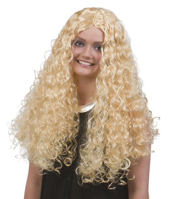 Lång Blond Lockig Peruk