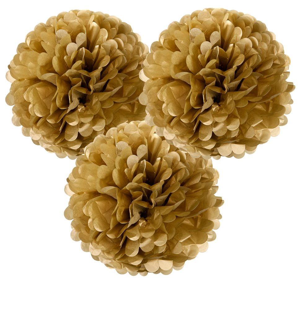 Pom Pom Guld Hängande Dekoration 3-pack