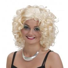Lockig blond peruk