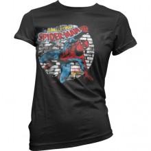 Distressed Spider-Man Girly T-Shirt Svart