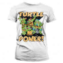 TMNT Turtle Power! Dam T-shirt Vit