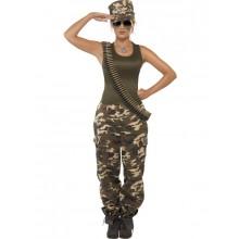 Khakifärgad kamouflage-dräkt dam