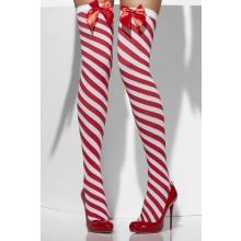 Stockings Röd/Vit Med Rosett