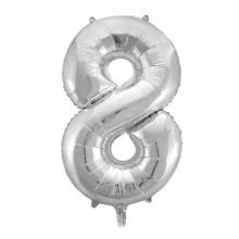 Jumbo Sifferballong 86 cm Silver 8