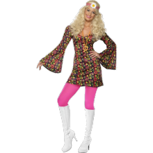 Hippieklänning-dräkt i 60-talsstil