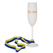 Student champagneglas med band