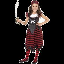 Pirattjej-dräkt med dödskallemotiv barn