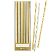 Sugrör Metallic Guld & Silver 30-pack