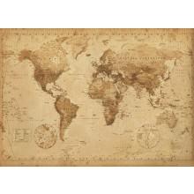 Världskarta Affisch Vintage
