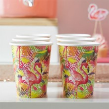 Pappersmugg Flamingo 8-pack