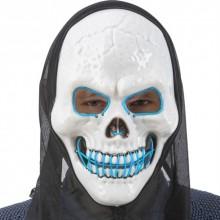 LED Mask Dödskalle med Huva Blå