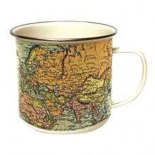 Mugg Världskarta Emalj Vintage