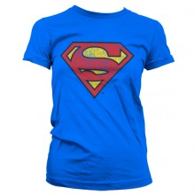 Superman Washed Shield Girly T-Shirt (Blå)