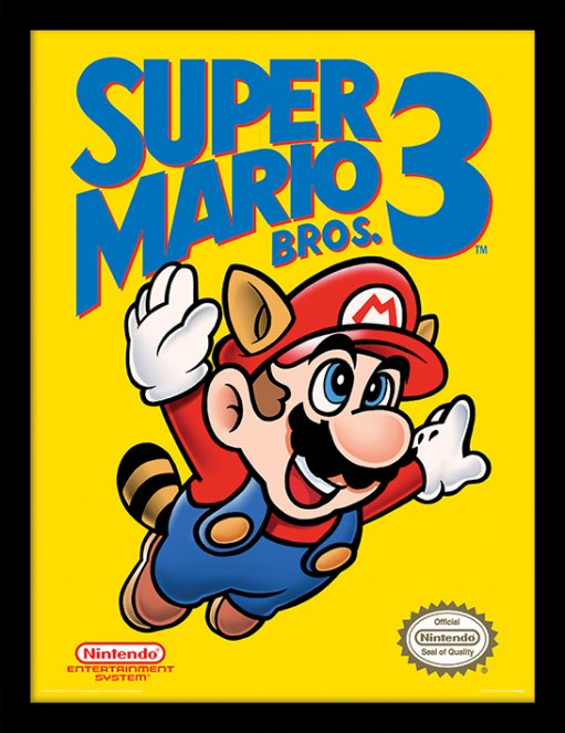 SUPER MARIO BROS. 3 (NES COVER) INRAMAD POSTER