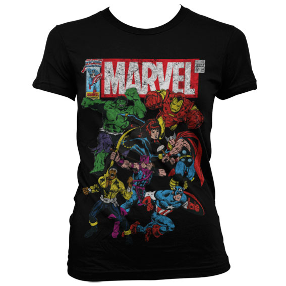 Marvel Comics - Team-Up Girly T-Shirt (Svart) thumbnail