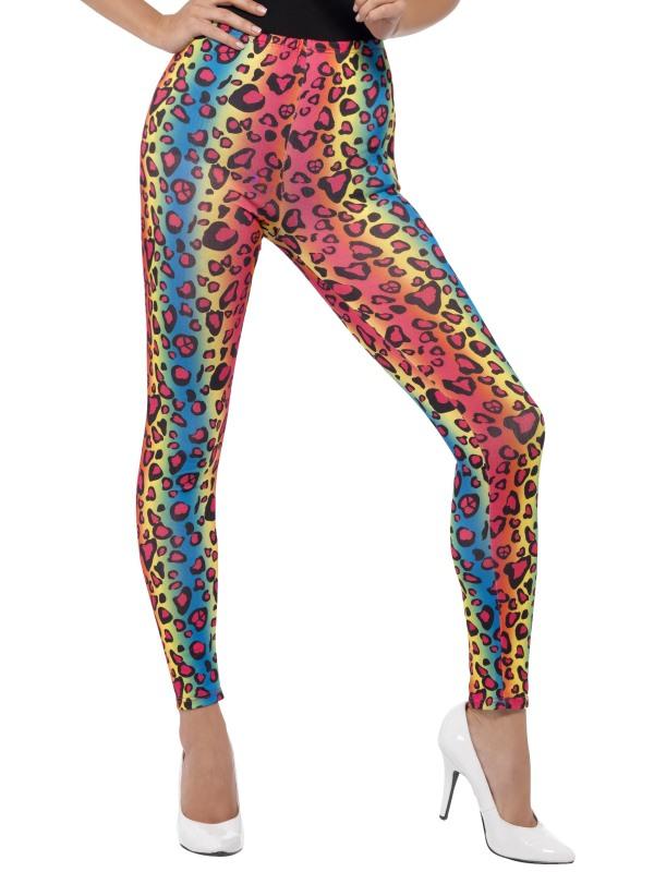 Neon Leggings Leopardmönster