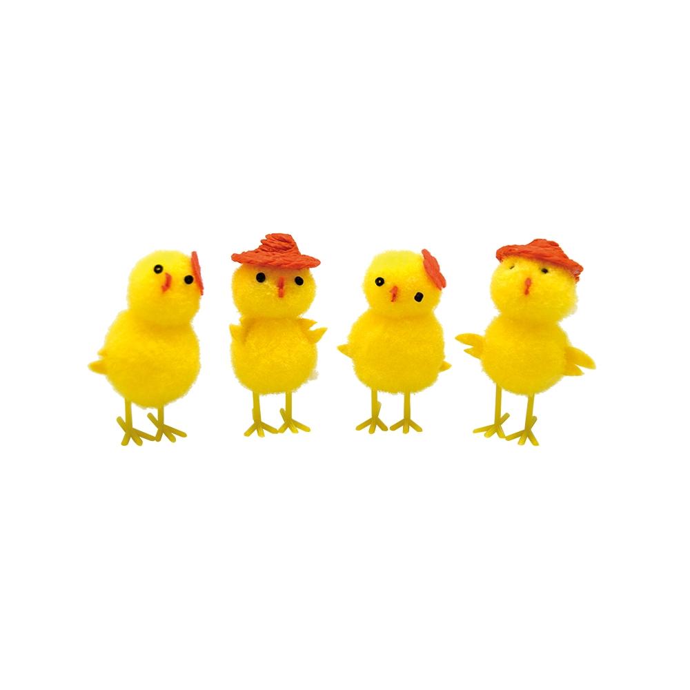 Påskkycklingar Med Hatt Dekoration 4-pack