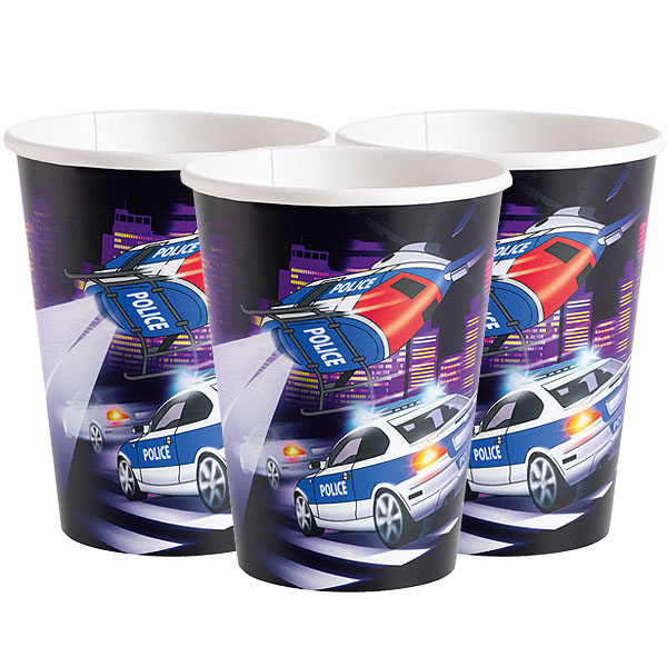 Pappersmugg Polis 8-pack