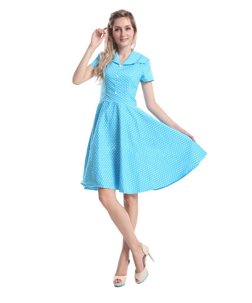 Rockabillyklänning Polka Blå Krage