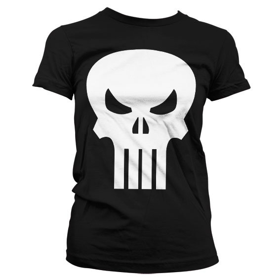 The Punisher Skull Girly T-Shirt (Svart) thumbnail