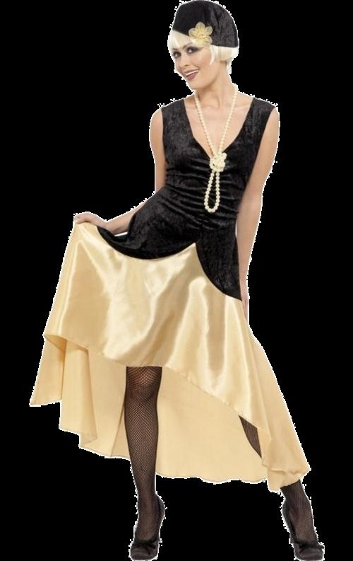 20-talsdräkt Gatsbytjej i svart och guldfärgat