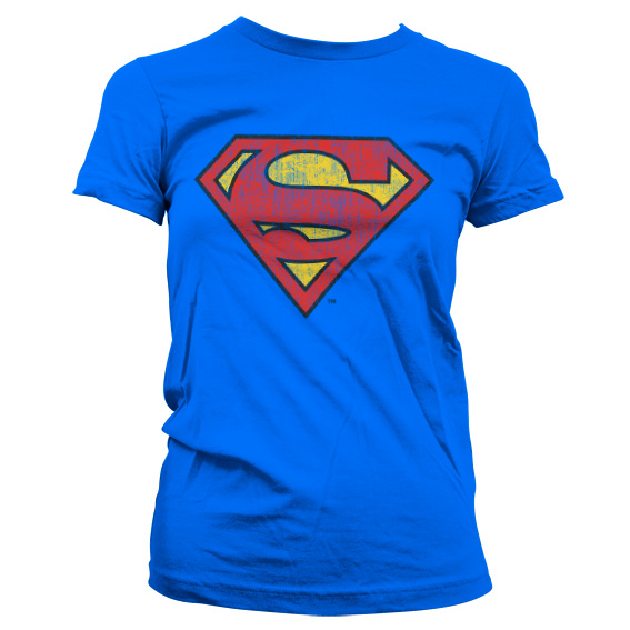 Superman Washed Shield Girly T-Shirt (Blå) thumbnail